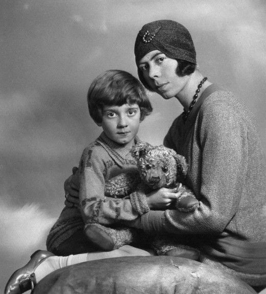 Happier Days. A young Christopher Robin Milne and mother Daphne Milne 14 March 1928 [520x575] : HistoryPorn