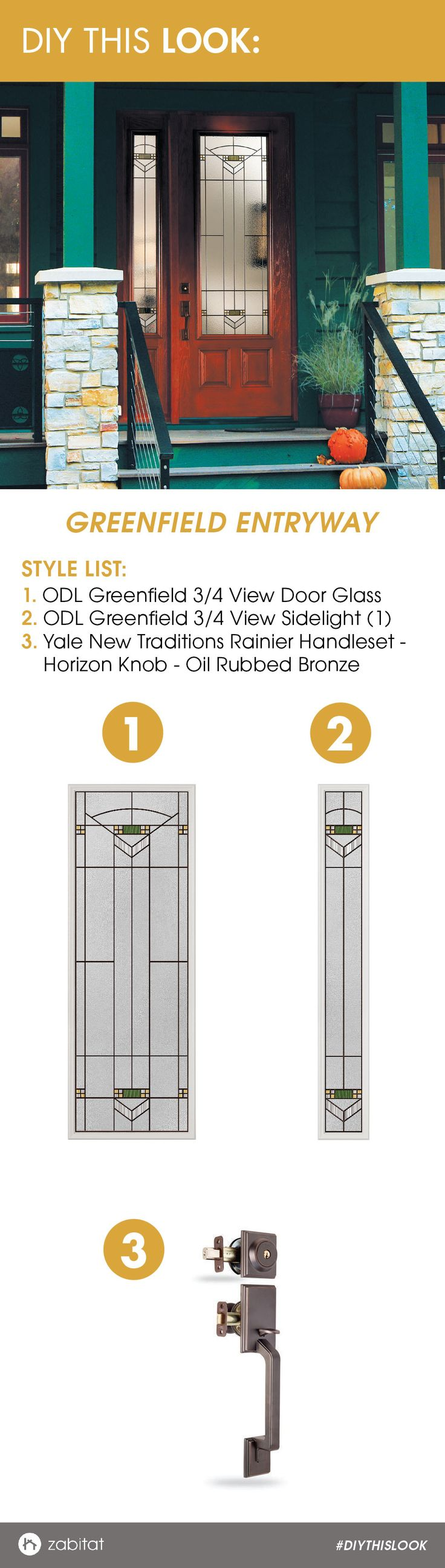ODL Greenfield Door Glass Insert paired with a Yale Oil Rubbed Bronze Handleset