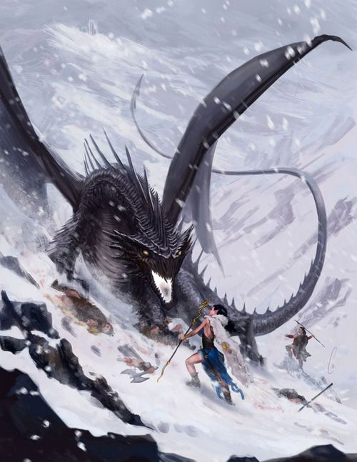Other than the woman's notable lack of clothing for the weather, this is more like what an encounter with a dragon would be like. Notice the poor dismembered warrior on the left.