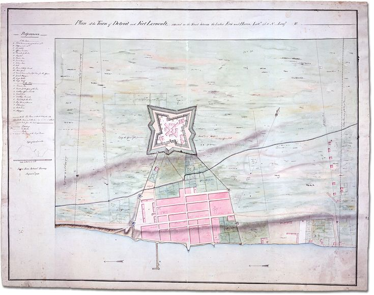 Plan of the Town of Detroit and Fort Lernoult, situated on the strait between Lakes Erie and Huron . . . taken from actual survey, 1792 Simcoe family fonds, Archives of Ontario