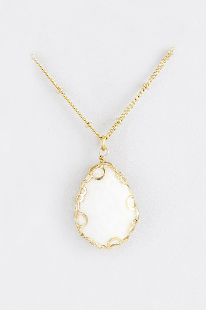 Maya Necklace in White Jade