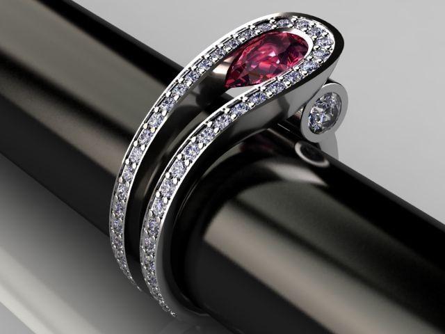 Palladium Ruby and Diamond Two Row Contemporary Ring Design.. better wuth black diamond or sapphire..