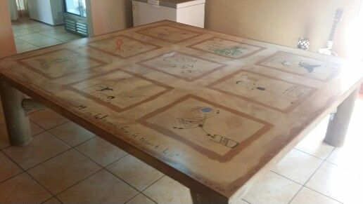 Top of our garage table design.