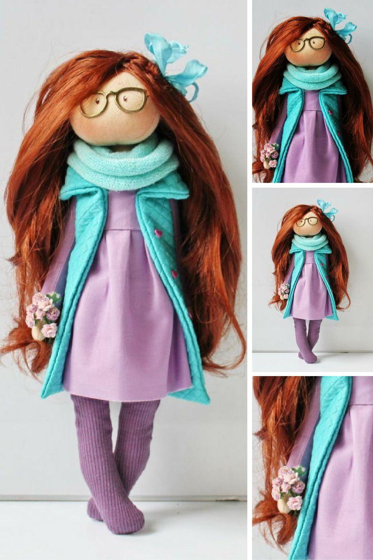 Tilda doll Interior doll Handmade doll Soft doll Textile doll Art doll Cloth doll Violet doll Fabric doll Rag doll Baby doll by Olesya N