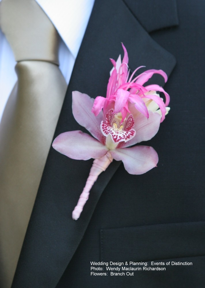 Pink Boutonniere with mini cynbidium orchid with nerine lily/ www.callaraesfloralevents.com