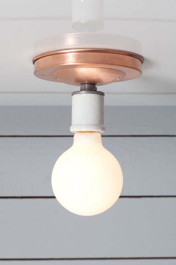 Copper Ceiling Light  Bare Bulb Lamp by IndLights on Etsy