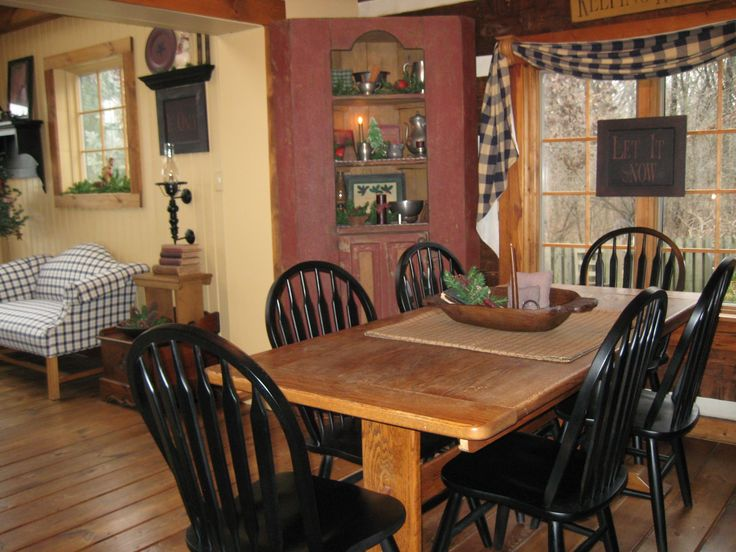 Amazing Primitive Dining Room Ideas Part - 11: Love The Wooden Table With Black Chairs! Definitely What Iu0027m Doing When  Kitchen Is Redone.