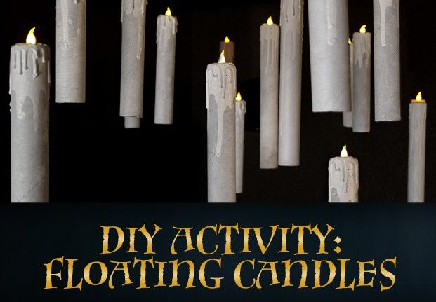 DIY HArry Potter flying candles. U'll need paper towel roll, led tea light, hot glue gun(or wax), paint, and fishing line for the illusion of a flying candle !!