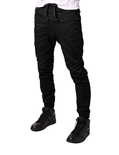 JD Apparel Men's Slim Fit Drawstring Harem Jogger Pants S Black