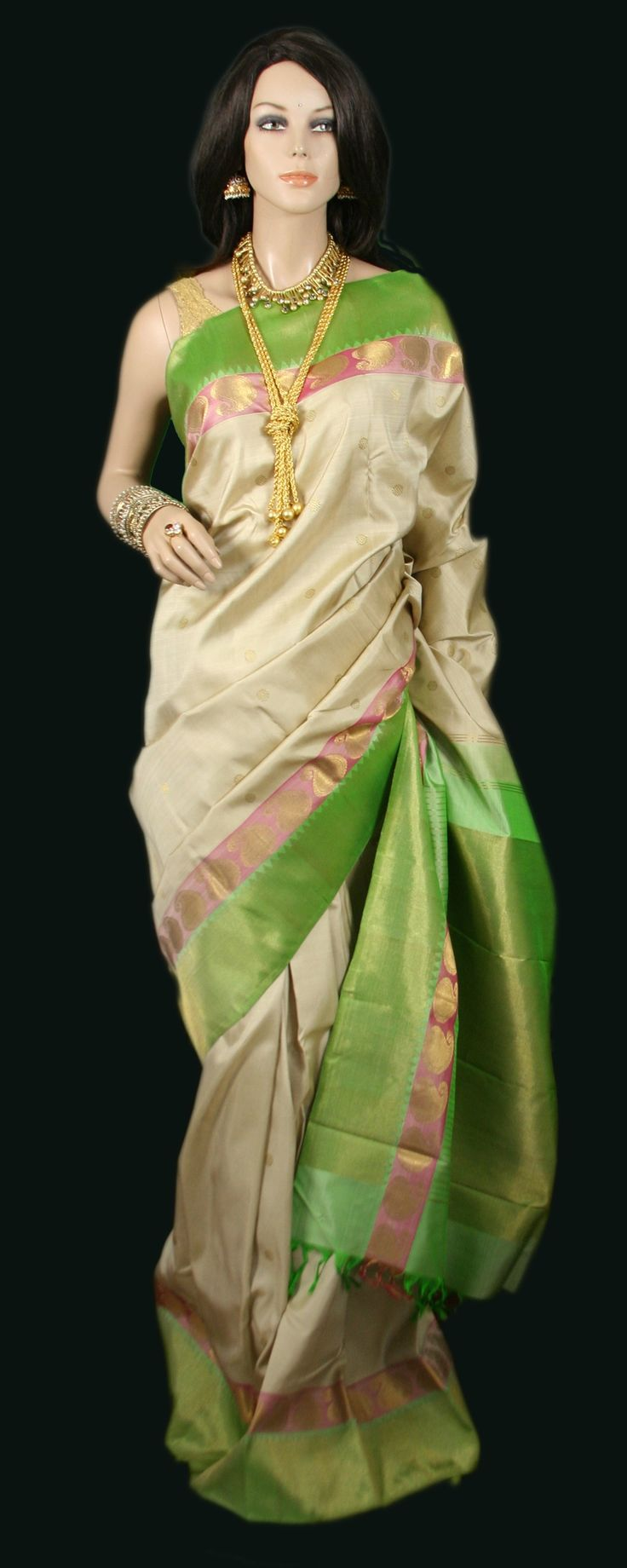 Beige Kanjeevaram Saree with parrot green and pale pink border