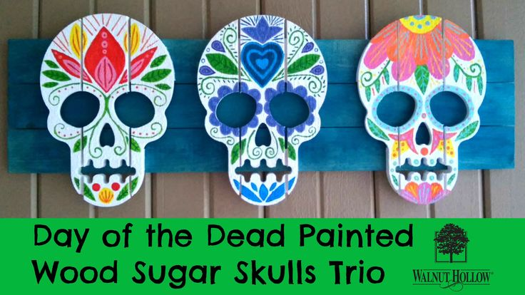 Day of the dead painted wood sugar skulls trio diy for Day of the dead arts and crafts
