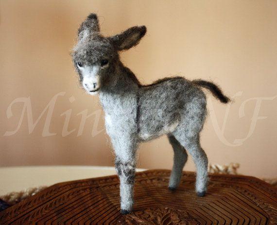 Needle felted donkey, burro foal, animal miniature, soft doll equine, Burrito…