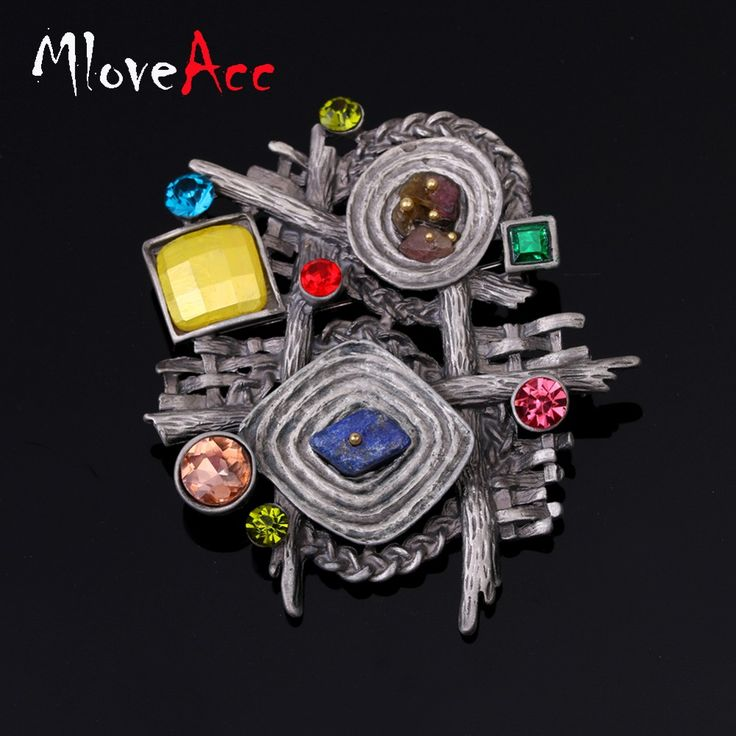 MloveAcc Vintage Multicolor Natural Stone Scarf Clip Brooches for Women Antique Ethnic Retro Irregular Geometric Brooch Jewelry