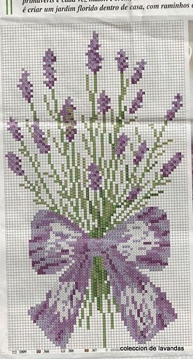 Lavender cross stitch pattern.