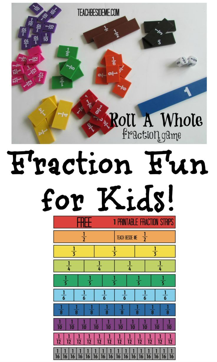 Fraction fun for kids- printable game. Great way to teach fractions!