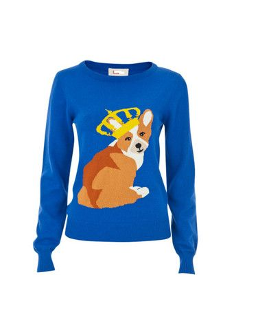 Windsor Corgi Jumper: Intarsia Jumpers, Corgi Sweaters, Corgi Intarsia, T-Shirt, Blue Brown, King Corgi, Corgi Jumpers, Louch Windsor, Windsor Corgi