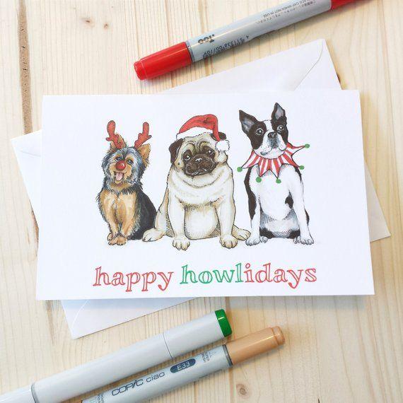 Dog Christmas Puns.Happy Howlidays Dog Christmas Greeting Card Funny Animal Pun
