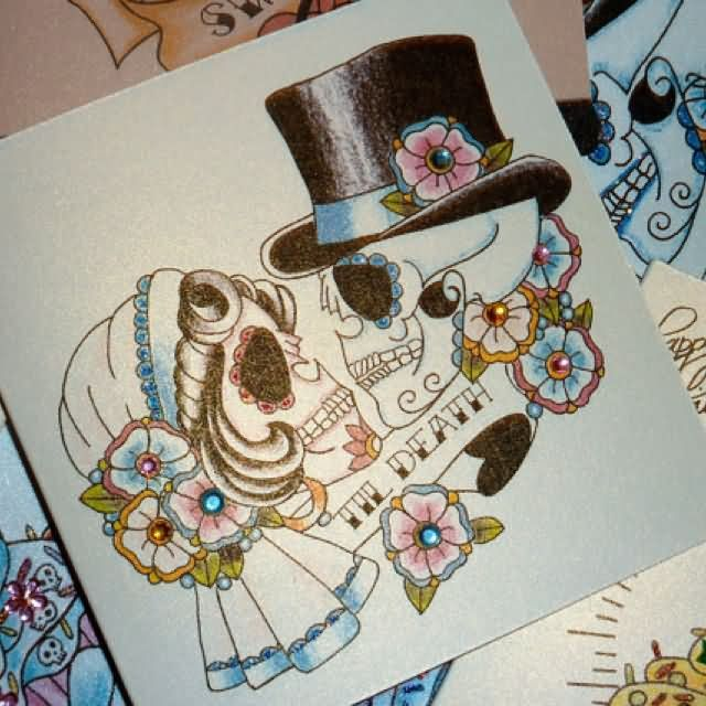 Skull With Hat And Flowers Couple Tattoo