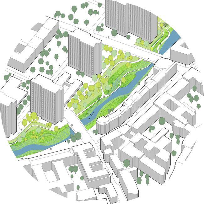 Global Holcim Awards Bronze 2012: Urban renewal and swimming-pool precinct, Berlin, Germany: Segment C: Isometric view of renaturized upperm...
