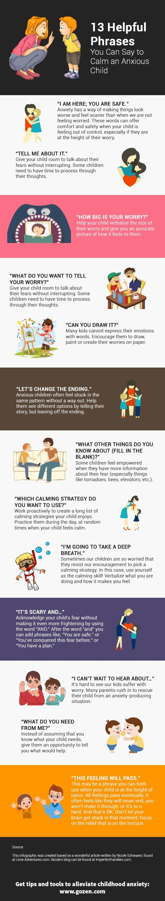 13 Helpful Phrases You Can Say To Calm >> 13 Helpful Phrases You Can Say To Calm An Anxious Child Infographic