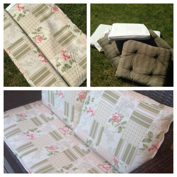 New cushion covers for garden chairs, made of curtain fabric. When old becomes new.