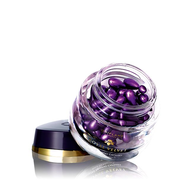 Oriflame Royal Velvet Ultra Firming Capsules (24547) - Light yet deep-nourishing blend of 5 precious oils and Black Iris Infusion leaves your skin immediately smoothed and velvet soft, with fine lines and wrinkles visibly reduced. Follow with your Royal Velvet Day or Night Cream. 28 capsules.