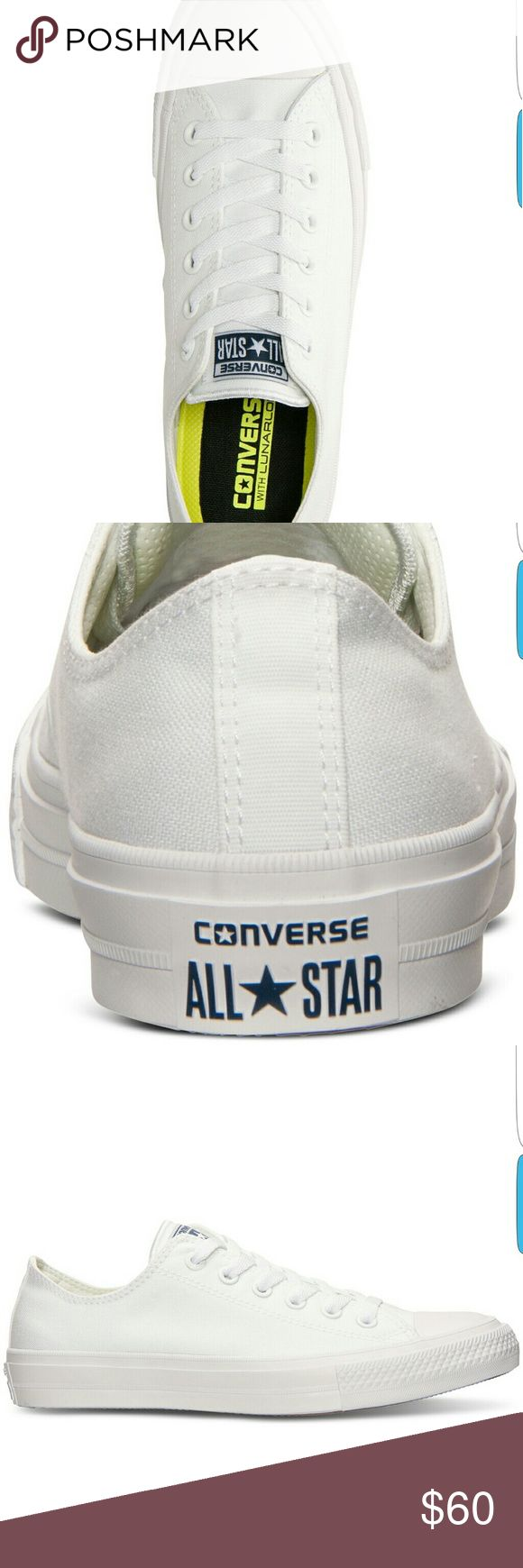 SALE TODAY!! New low cut chuck taylor 2 Converses New without tag white Converse Chuck Taylor All Star II Low is a new and modern take on the classic Chuck Taylor. This updated version is lighter that the original and crafted with a premium canvas upper, soft micro-suede lining, padded non-slip tongue, and comfortable Lunarlon insole. Size 9.5 NO BOX NO TRADES Converse Shoes Sneakers