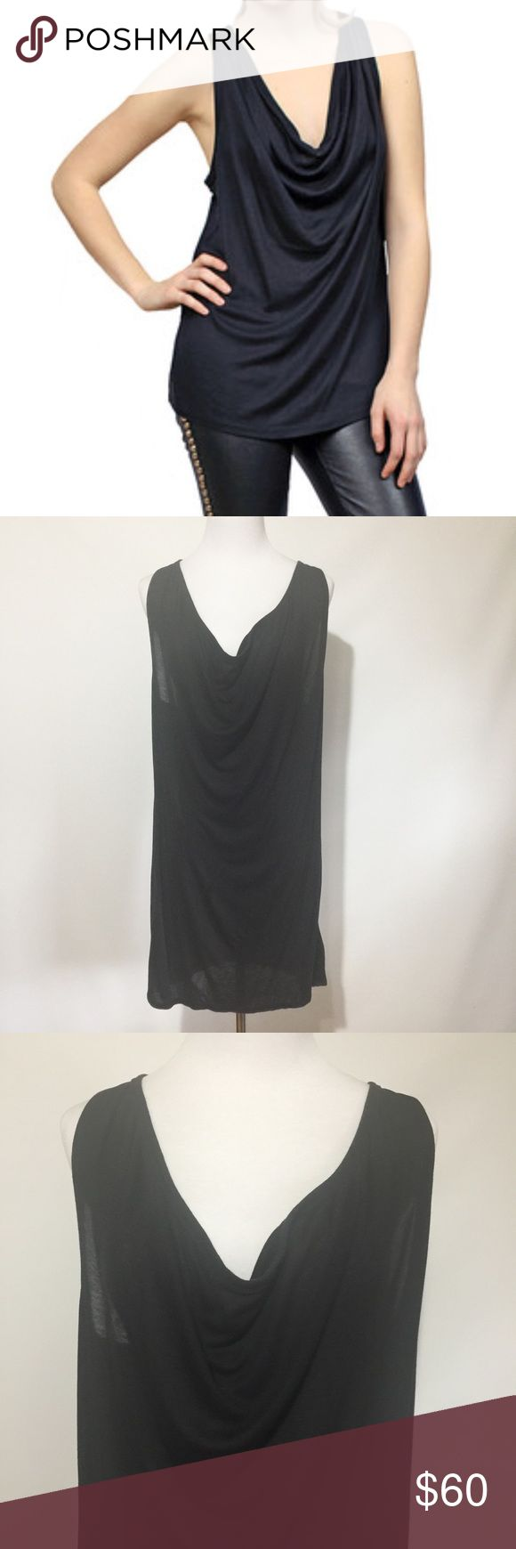 T ALEXANDER WANG COWL NECK SHEER TANK GUC. Alexander Wang T Sheer Cowl Tank. Black jersey tank with cowl neck and a racer back. Flattering drape. The signature Wang Tee casual-chic! - 100% tencel. Light makes it appear faded but it's not! Alexander Wang Tops Tank Tops