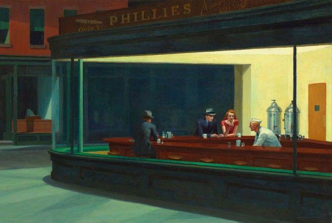 Edward Hopper, Nightawks (1942, olio su tela, Chicago, Art Institute of Chicago Building)