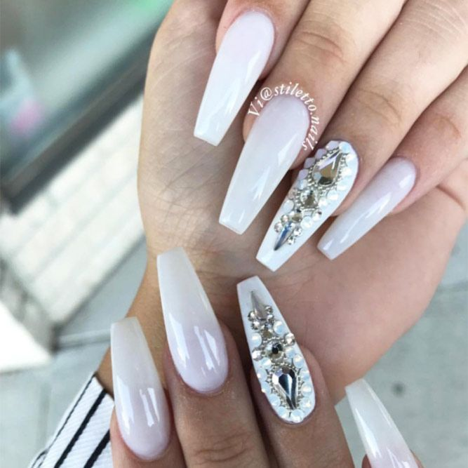 The Most Stylish Ideas For White Coffin Nails Design Coffin Nails Designs Rhinestone Nails White Coffin Nails