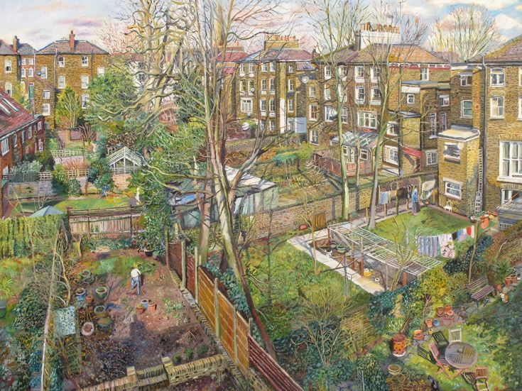 """An Allotment"" by English Artist, Melissa Scott-Miller, born 1959, Portrait & Urban Landscape Painter ...."