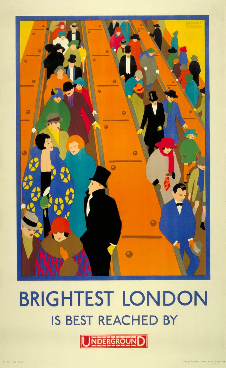 The Underground group published this poster in 1924. Horace Taylor's colourful design shows a stream of stylish passengers gliding down the escalators into an Underground station.
