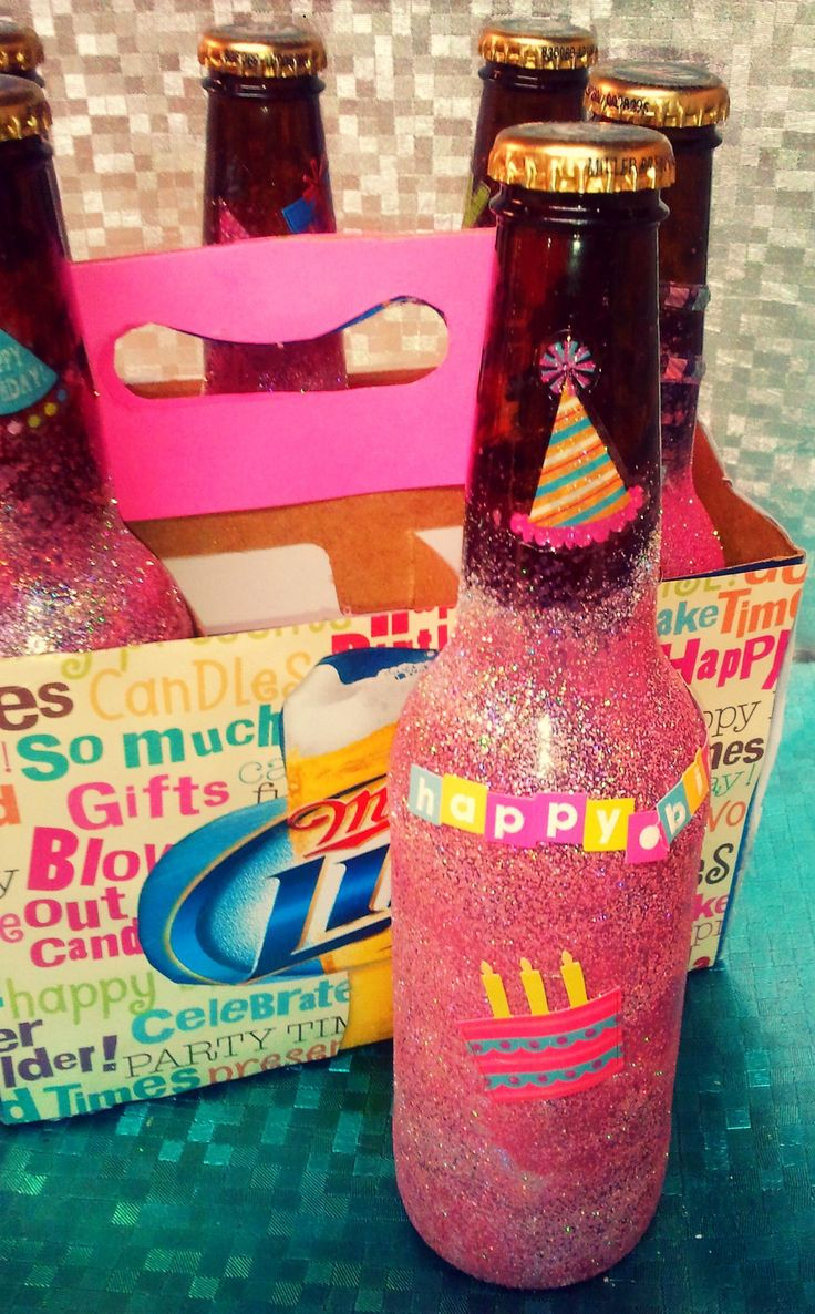 Birthday beer! All you need is spray paint, stickers, and beer! this is adorable