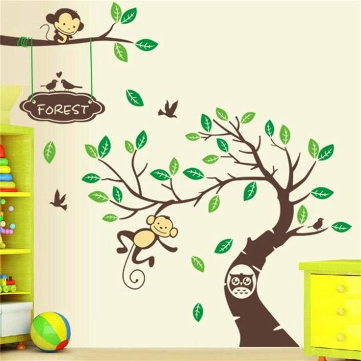 monkey elephant lion tiger animal wall stickers for kids room zooyoo5099 wall art home decorative sticker zoo cartoon wall decal