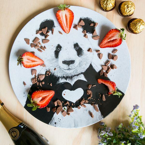 Panda love melamine plate
