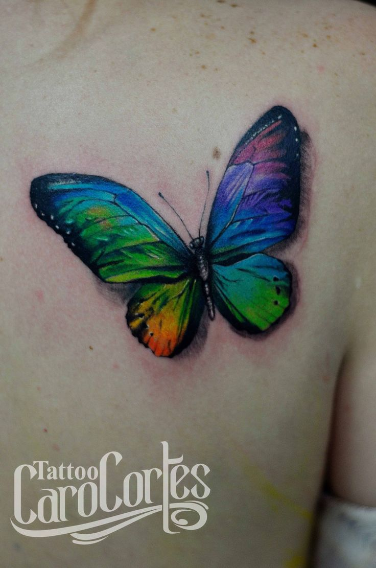 COLORFUL BUTTERFLY - MARIPOSA COLORIDA  Caro cortes Colombian tattoo artist. carocortes.tumblr.com  www.carocortes.com/ #butterfly #colorful #tattoo #tatuaje #colorido #mariposa #carocortes #female #colombian #artist