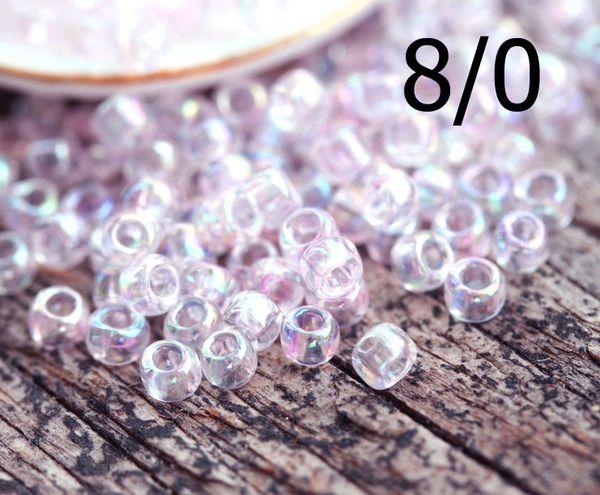 8/0 Toho Seed Beads N 1844 Trans Rainbow Pink 10g