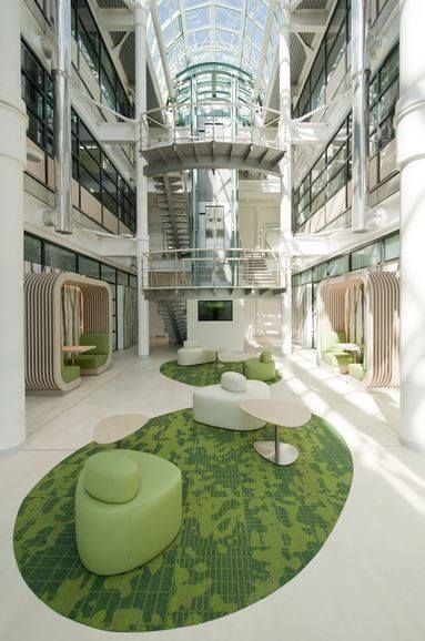 Lusted Green Worked for Scottish Widows in conjunction with GVA project managers to create this 6,600m2 1980's building in Reading, Berkshire. It was re-branded and refreshed to reflect current office standards. Carpet from our Metropolis range.