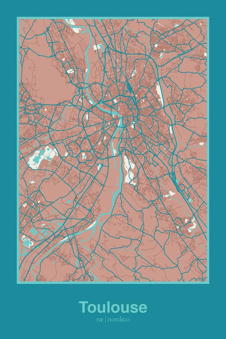 98 best city map art print images on pinterest city maps map art toulouse france map print gumiabroncs Image collections