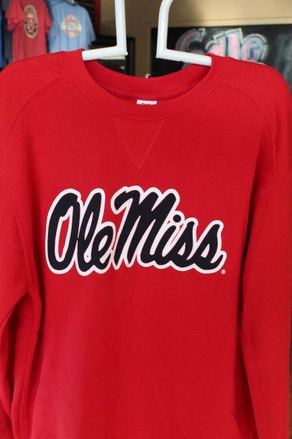 Ole Miss crew sweatshirt red with navy $38.95