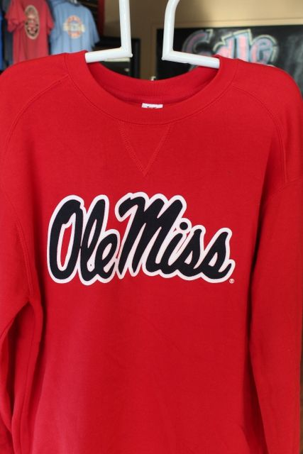Ole Miss crew sweatshirt red with navy $38.95