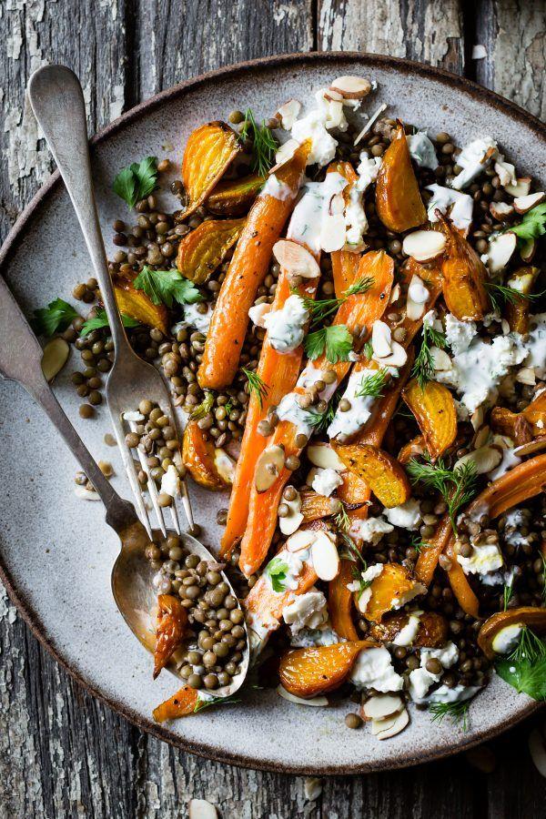 Roasted Beet & Carrot Lentil Salad with Feta, Yogurt & Dill
