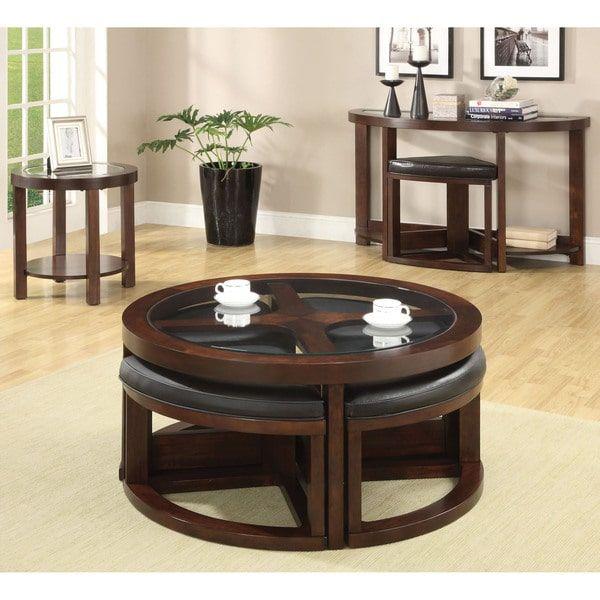 Furniture of America Gracie Dark Walnut 5-Piece Coffee Table and Ottoman Set