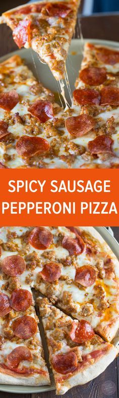Spicy sausage and pepperoni pizza is so much better made at home than getting delivery!