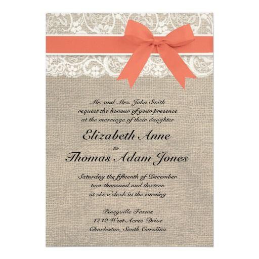 Ivory Lace Rustic Burlap Customizable Wedding Invitation (Coral) - $1.70 per invite. These are SO SO Cute!!