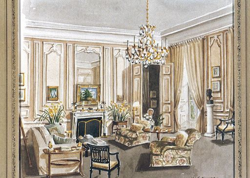 Mark Hampton watercolor of the rooms he decorated for Pamela Harriman in the American Embassy residence in Paris.