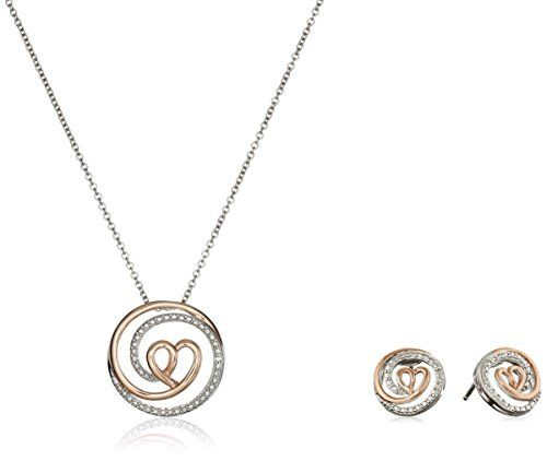 Rose Gold-Plated Sterling Silver and Diamond Pendant Necklace and Earrings Jewelry Set