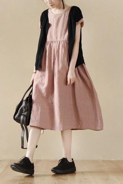 Pink Lovely Linen Short Sleeve Dress Summer Women Clothes LR777