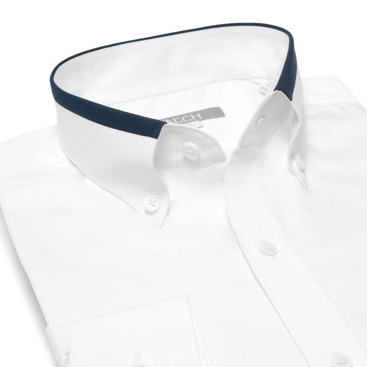 White Business Casual Shirt w/ Navy Contrast Collar Detail