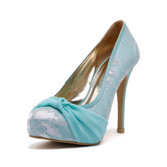 Tiffany Blue Cover Toe Wedding Heels Robbin Blue by ChristyNgShoes, $98.00